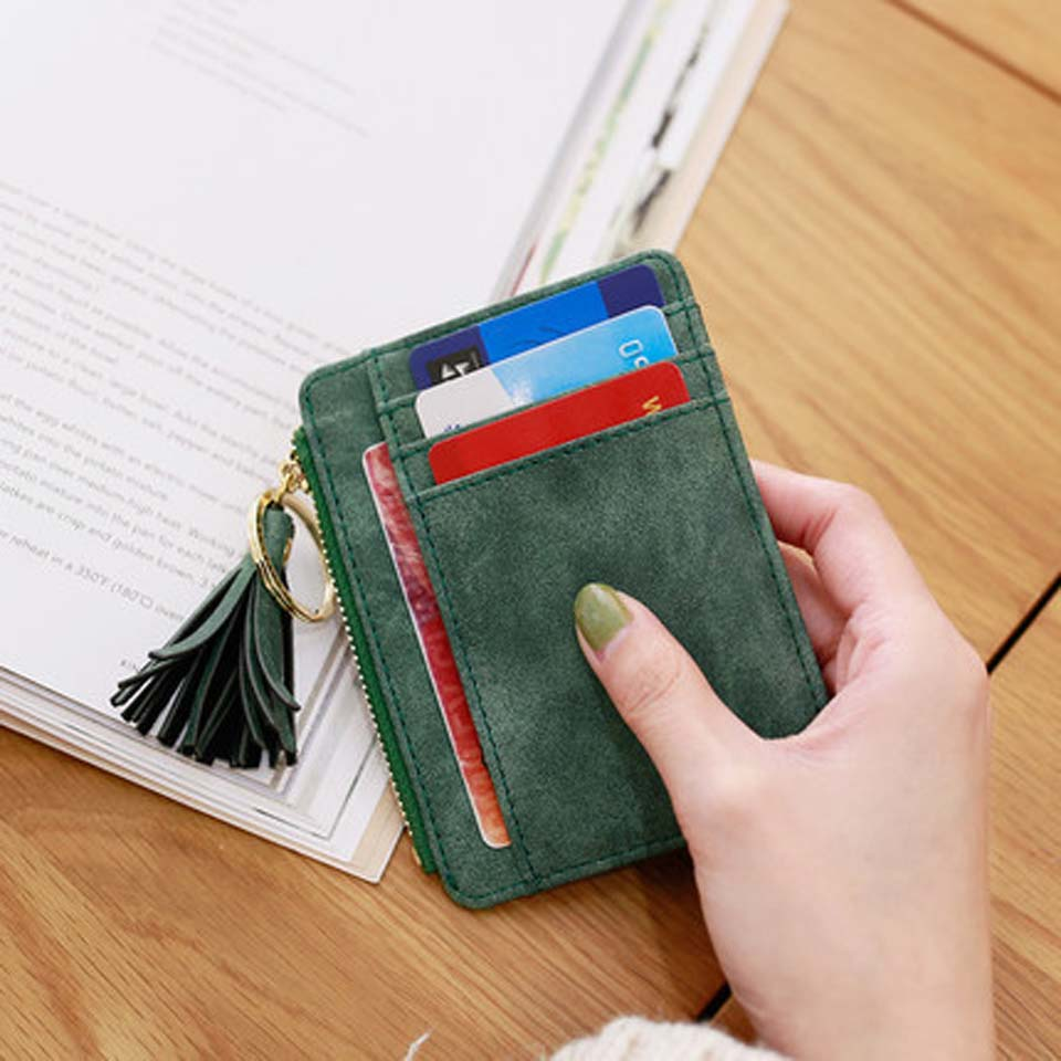 Slim Women Wallet Short Bag Small Pu Leather Credit Card Holders Thin Tassel Zipper Wallets Coin Pocket Fashion Clutch Bag