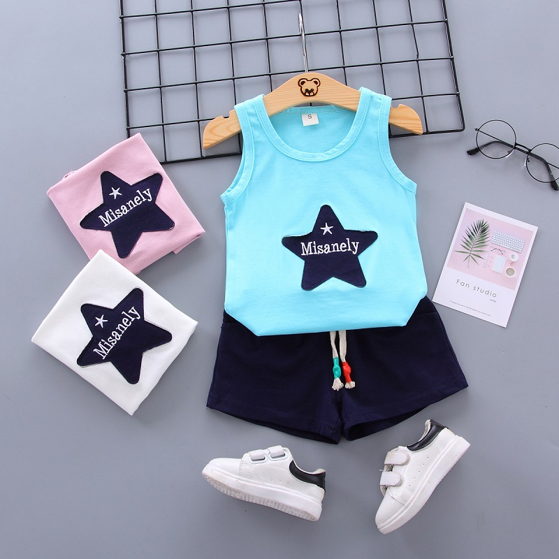 Summer Star Vest+Short Pants 2020 Baby Boys Girls Cotton Clothing Sets Clothes Set Outfits Bebes Suits 6M -4 Years Old 2 PCS Set