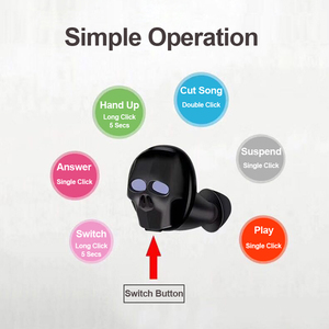 Image 5 - 2020 New Skull Bone Bluetooth Earphone with Microphone Noise Cancelling Hi Fi Handsfree Bass Stereo Mini Micro Earbud Earpiece