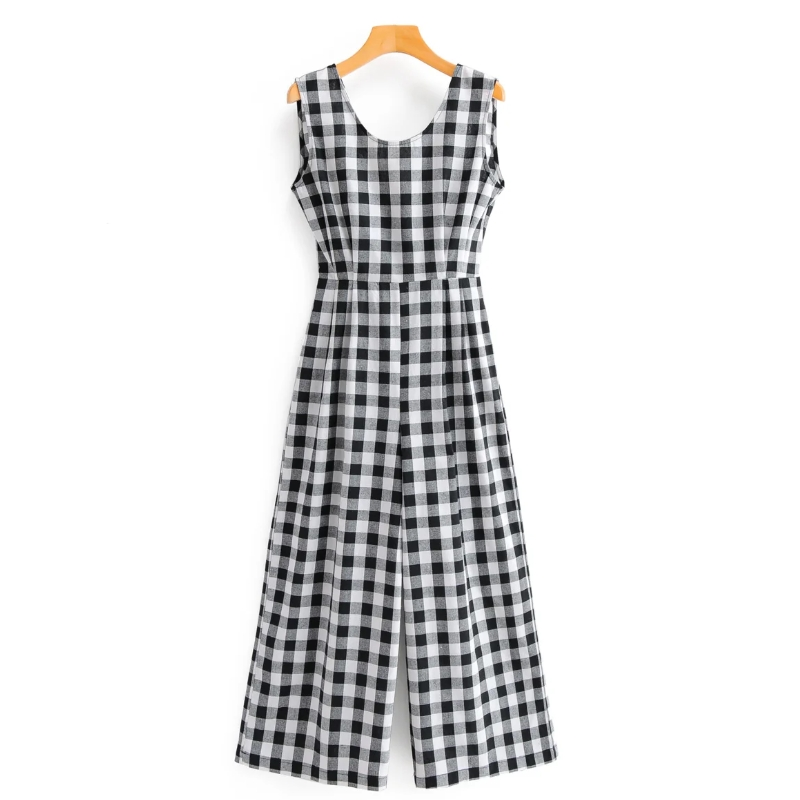New 2020 Women Vintage Sleeveless Plaid Print Siamese Rompers Ladies Backless Bow Tied Wide Leg Jumpsuits Casual Trousers DS3789