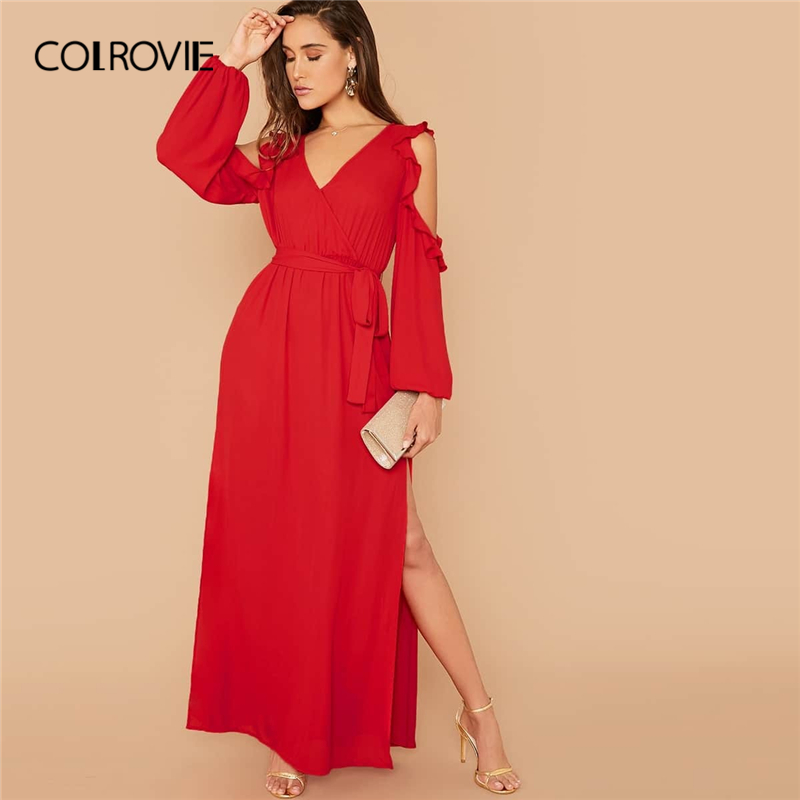 COLROVIE Red Cut Out Sleeve Ruffle Trim Split Thigh Dress Women V Neck Belted Boho Maxi Dress 2019 Autumn High Waist Dresses