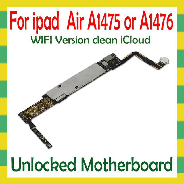 Original Unlock Mainboard For iPad 5 Air A1474  A1475 WLAN Cellular Version Motherboard 16G 32G 64G Logic Mother Board No iCloud