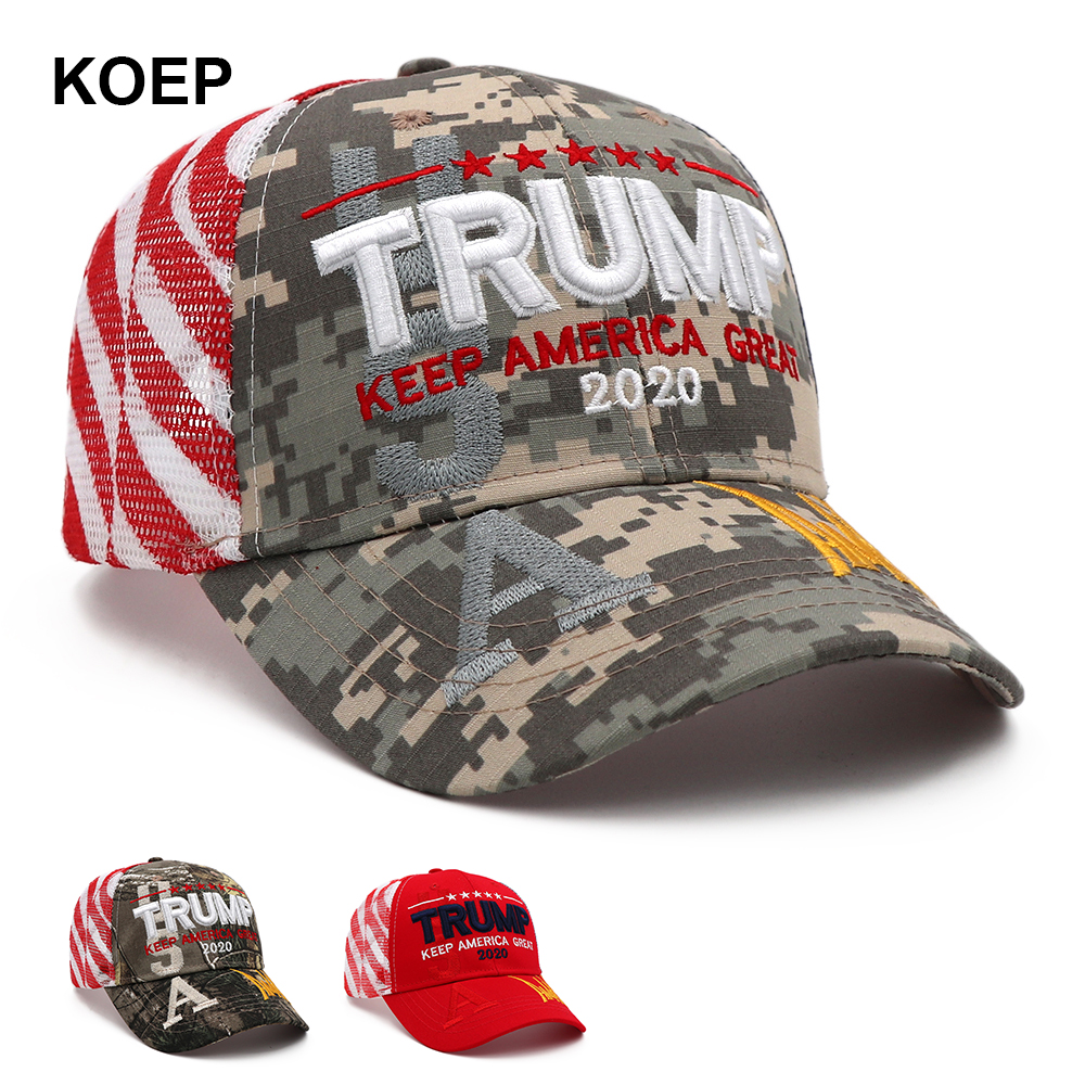 President Donald Trump 2020 Cap Camouflage USA Flag Baseball Cap Hat MAGA New
