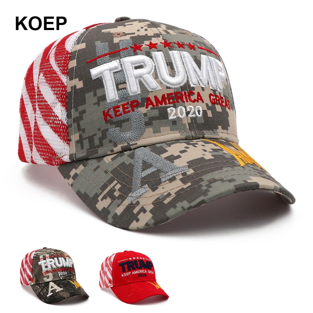 New Donald Trump 2020 Cap Camouflage USA Flag Baseball Caps Keep America Great Again Snapback President Hat Embroidery Drop Ship(China)