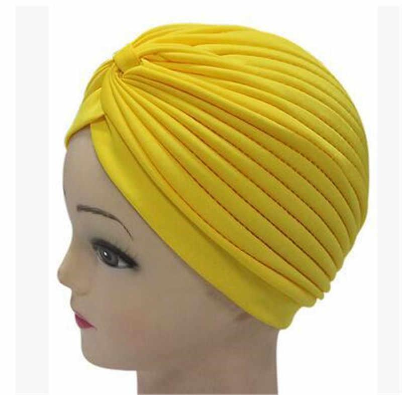 ผู้หญิงหมวกยืด Turban มุสลิมสี Ebony หมวก Lady สไตล์อินเดีย Turban อาหรับผ้าพันคอหมวก