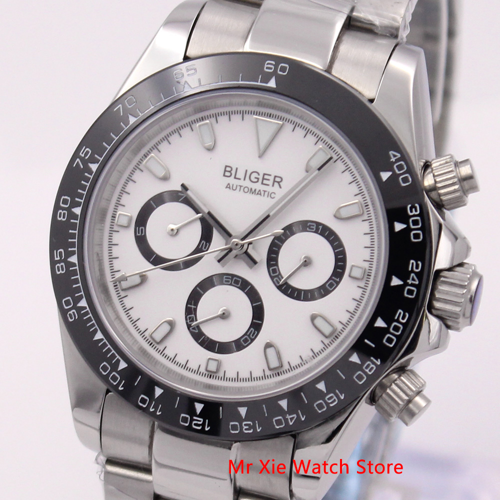 Bliger 39mm Automatic Mechanical Men Watch Luxury Stainless Steel Bracelet Auto Date And Weekday Sport Waterproof Wristwatch Men
