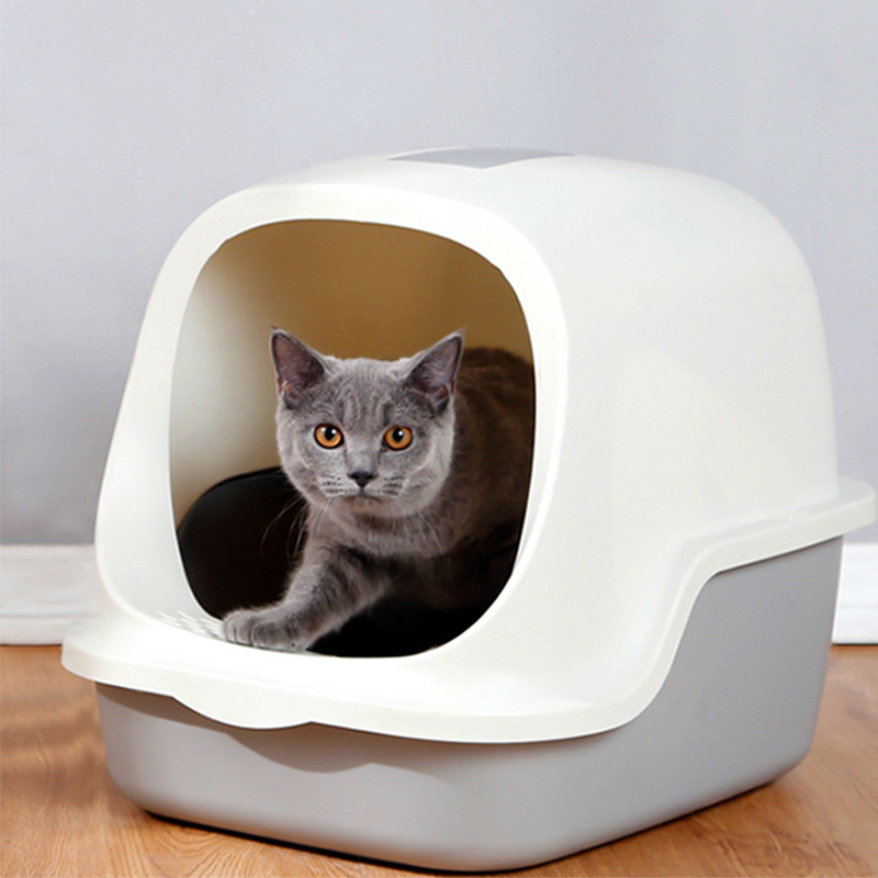 Large Cat Litter Box Send Cat Litter Shovel Fully Enclosed Cats Toilet Flip Type Odor Proof and Splash Proof Cats Litter Basin(China)