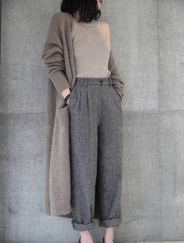Ailegogo New 2020 Autumn Winter Women's Sweaters Korean Style Fashionable Minimalist Solid Color Casual Long Cardigans SWC8133 4