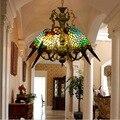 Тиффани стиль люстры c птицами подвесной светильник ручной работы стекло попугай абажуры Современные светодиодные люстры для ресторана