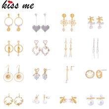 Kissme разнообразие типов акриловая жемчужина кристалл Смола Сердце Звезда цветок серьги для женщин золотой цвет модные ювелирные изделия оптом