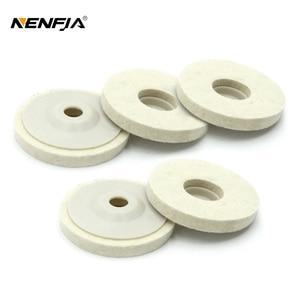 Image 1 - 1/3/5 adet 4 yünü keçe tekerlek disk pedi açısı öğütücü parlatıcı balmumu Metal keçe parlatıcı disk pedi döner aracı aşındırıcı taşlama
