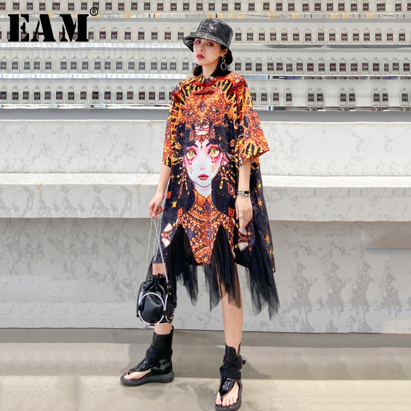 [EAM] Women Pattern Printed Mesh Big Size Dress New Stand Collar Three-quarter Sleeve Loose Fit Fashion Spring Summer 2020 1T080
