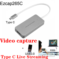 Ezcap 1080P Full HD Video Recorder 265C HDMI to TYPE C Video Capture Card Device For Windows Mac Linux Support Live Streaming