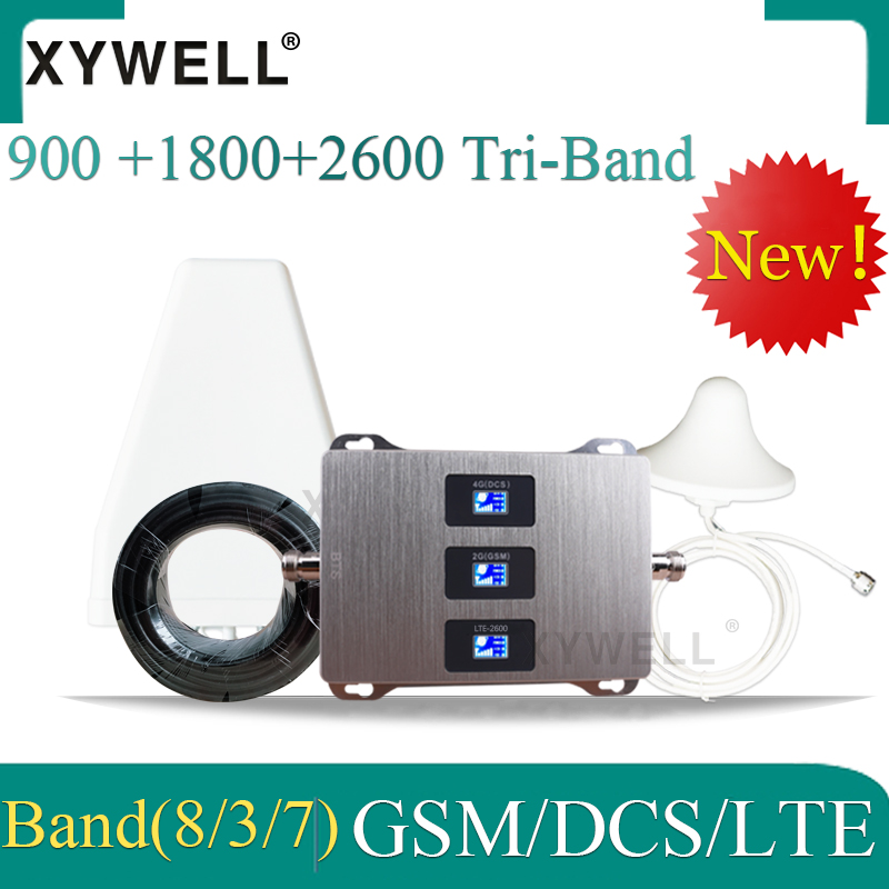 New!! Russia 4G Signal Booster 900 1800 2600 GSM DCS LTE 2G 3G 4G Tri-Band Cellular Signal Repeater GSM  Mobile Signal Booster