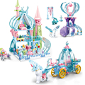 Princess Castle Building Blocks With Dolls Ice Snow Magic Carriage Palace Model Bricks Set DIY Toys Yacht for Kids Friends Gifts