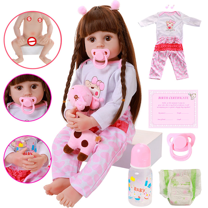 56cm Full Body Silicone Reborn Baby Dolls Newborn Sleeping Boy Doll Kids Gifts