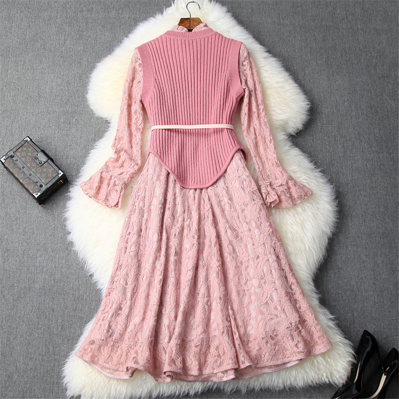New Fashion Fall Winter Dresses for Women 2019 Designers Irregular Knitted Top+Flare Sleeve Aline Lace Party Dresses 2piece Sets 50