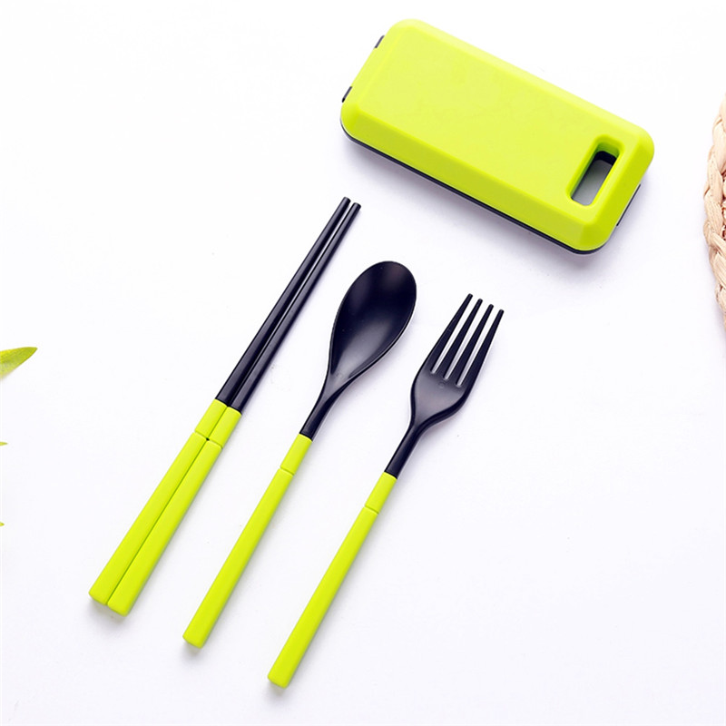 Camping Tableware Outdoor Picnic Camping Utensil Three-Piece Tableware Set Portable ABS Plastic Environmental Fork Spoon Chopstick Folding Combination