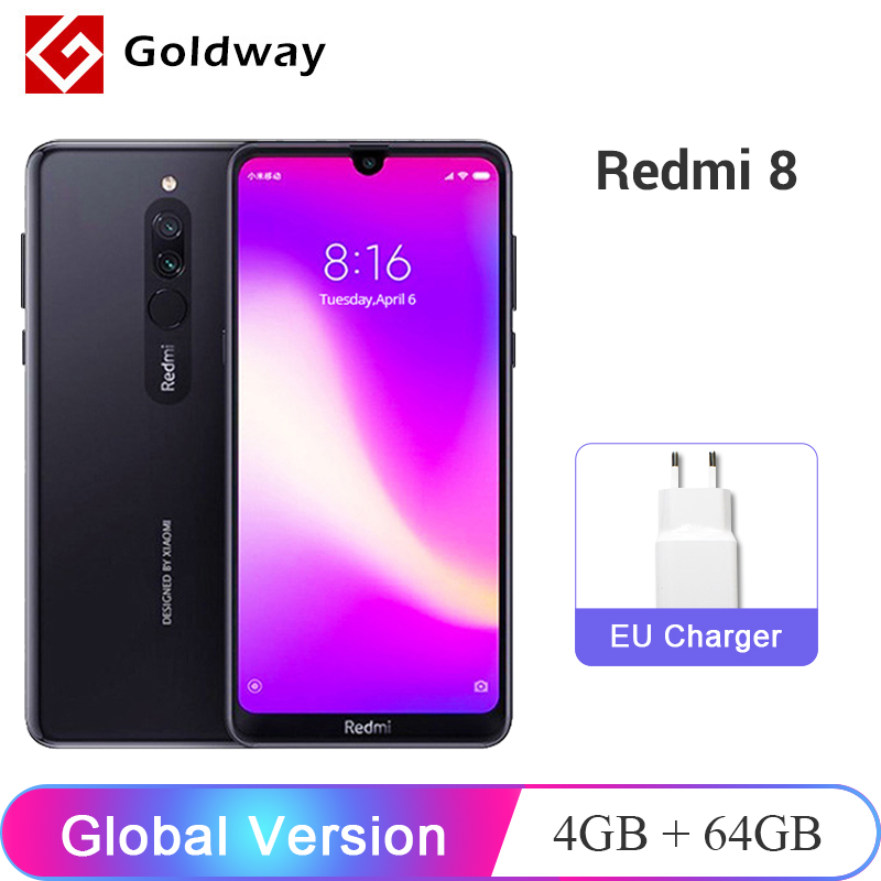 Global Version Xiaomi Redmi 8 4GB 64GB Snapdragon 439 Octa Core 12MP Dual Camera Mobile Phone 5000mAh Large Battery OTA