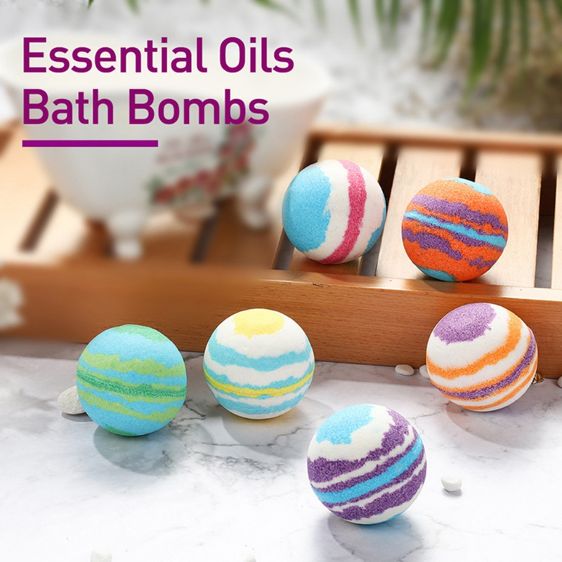 6pcs Bath Salt Ball Body Skin Whitening Ease Relax Stress Relief Natural Bubble Shower Bombs Ball Body Cleaner Essential Oil Spa