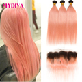 1B/Roze Bundels Met Frontale Braziliaanse Straight Remy Human Hair Weave Bundels Donkere Wortels Roze Human Hair Bundels Met frontale