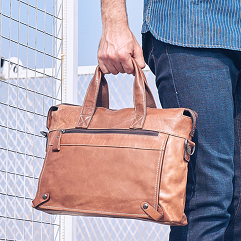 2019 New Genuine Leather Men's Handbag Male Business 14 Inch Laptop Bag Briefcase First Layer Leather Shoulder Messenger Bags