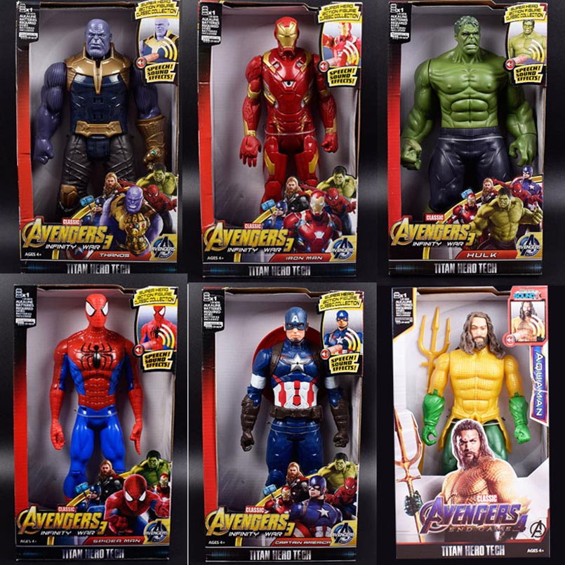 30cm Avengers Iron Man Captain America Thor Thanos Spiderman Aquaman Falcon Vision Ant-Man Flash PVC Action Figure Toys Kid Gift