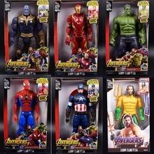 30cm avengers iron man Captain America Thor Thanos Spiderman Aquaman Falcon Vision Ant-Man flash PVC action figure toys kid gift