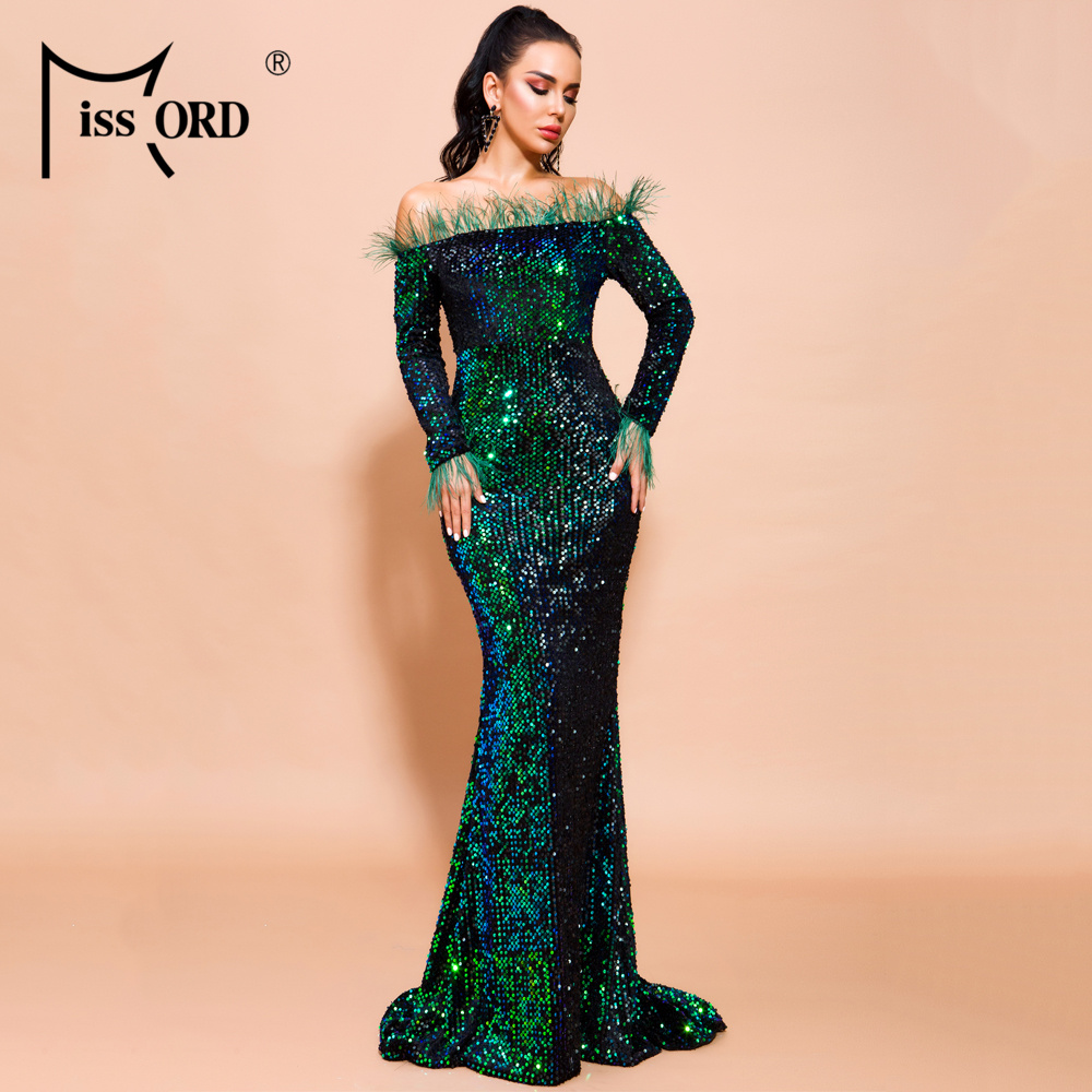 H7d81a40af87843baa4a193ae691f13ccY - Missord Sexy Off Shoulder Feather Long Sleeve Sequin floor length Evening Party Maxi Reflective Dress Vestdios FT19005