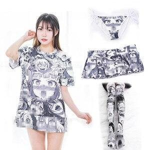 Anime Ahegao Hentai Cosplay Stockings Tshirt Panties Costumes Cartoons Printing Skirt Woman Costume