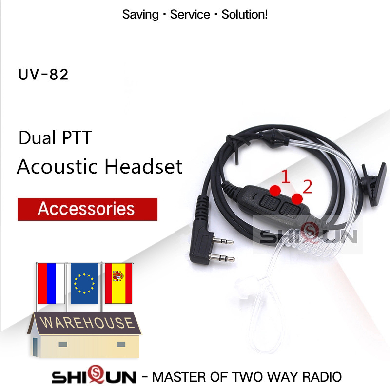 Dual PTT Earpiece Acoustic Headset For Baofeng UV-82 Plus UV-8 UV82L UV-89 UV-82TP GT-5TP UV-82HP UV-82HX UV-8D Air Tube Headset