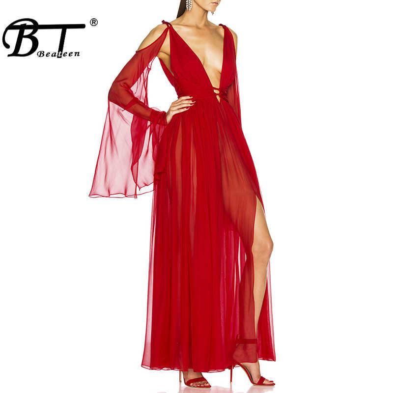 Beateen 2019 Neue Frauen Sexy Tiefem V-ausschnitt Spitze Puff Lange Hülse Aushöhlen Backless Bogen Details Abend Party Maxi kleid Kleid