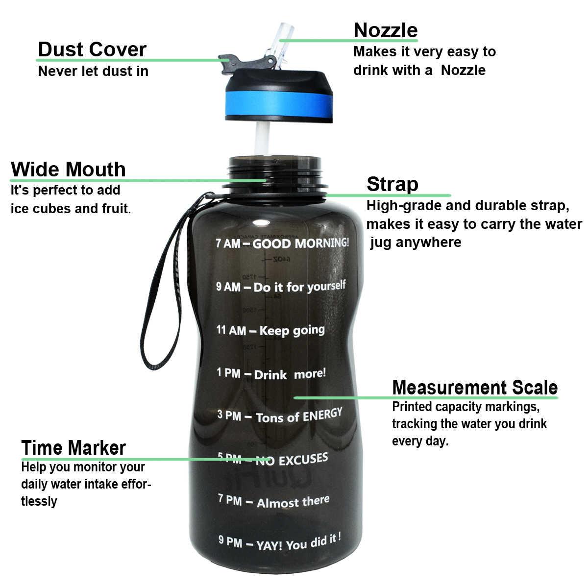 QuiFit 2L 1.3L 450ml yarım galon Tritan su şişesi ile saman BPA ücretsiz benim içecek şişeleri taşınabilir Protein Shaker spor salonu sürahi
