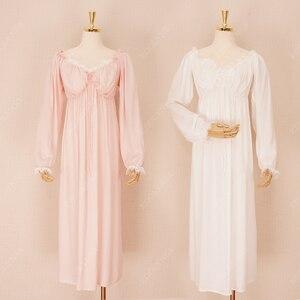 Image 5 - Dài Bông Trắng Cổ V Gợi Cảm Ngủ Đêm Áo Mặc Nhà Vintage Váy Ngủ Công Chúa Đồ Ngủ 2020 Nữ Váy Ngủ T350