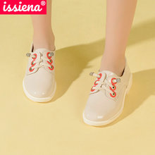 Girl Shoes ISSIENA Low-Heel Elegant Flat Sweet on Crystal PU with Size-28-39 Slip Round-Toe