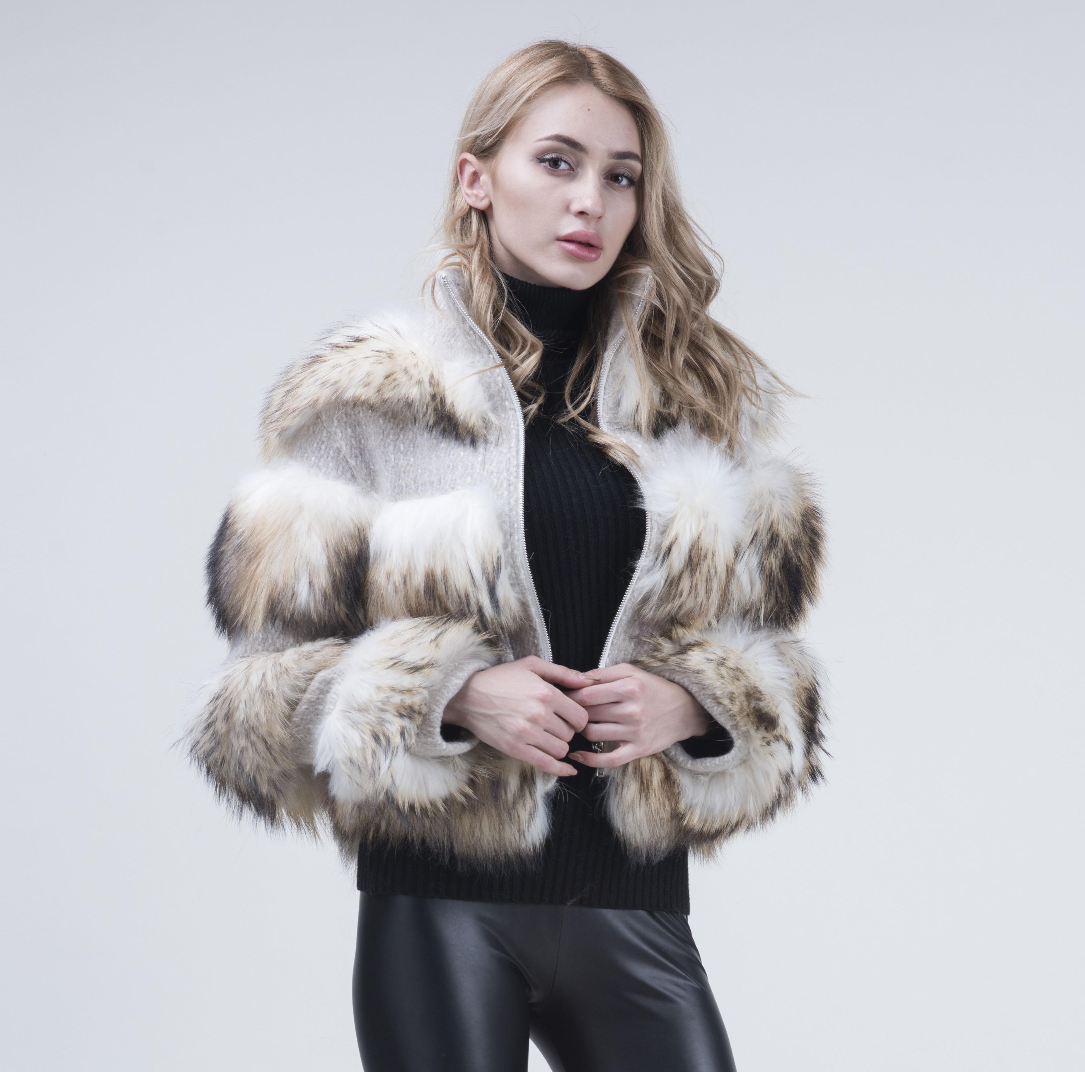 JANEFUR  natural Raccoon Fur coat Long Sleeves thick fur coat  winter women Coat