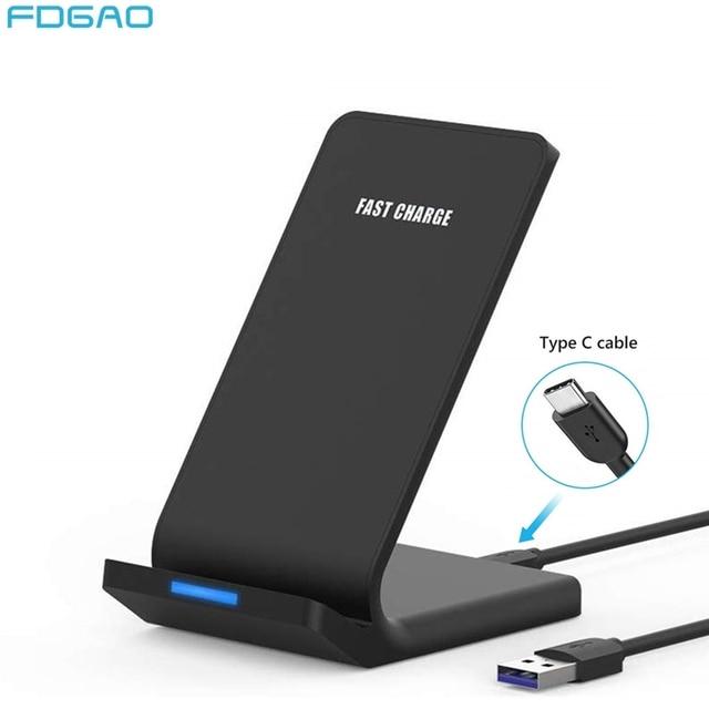 Беспроводное зарядное устройство FDGAO 15 Вт с USB кабелем типа C 10 Вт для iPhone 11 Pro XR XS Max X 8 QC 3,0, подставка для быстрой зарядки для Samsung S10 S9