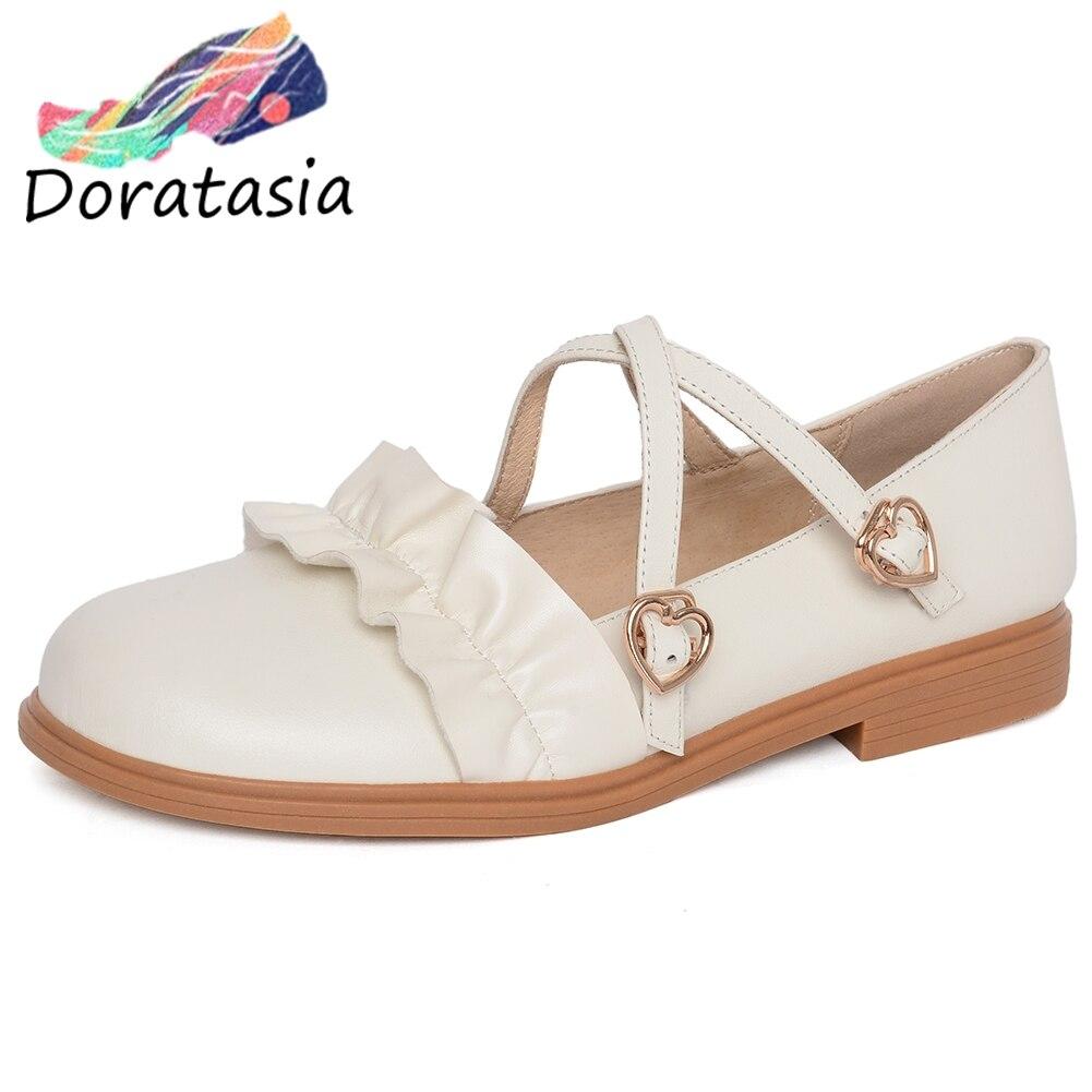 DORATASIA douce fille croix attachée bout rond talons bas chaussures plates plissées femmes métal printemps décontracté en cuir véritable chaussures femme