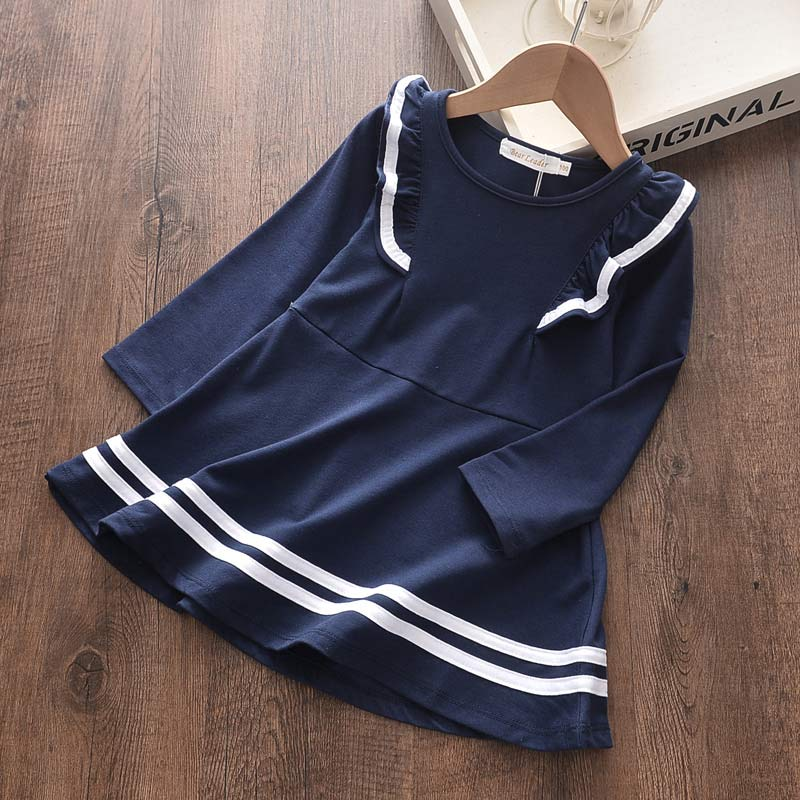 Bear Leader Girls Dresses Spring New Baby Girl Dress Striped with Bow Long Sleeves Princess Dress for Girl Kids Clothes Vestidos 2