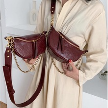 Mododiino Tassel Shoulder Bag Women Chest Chains Crossbody Bags Wide Strap Leather Messenger DNV1218