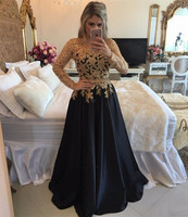 Long Sleeves Black Prom Dress with Gold Beaded Bodice Formal Wear Pageant Dress
