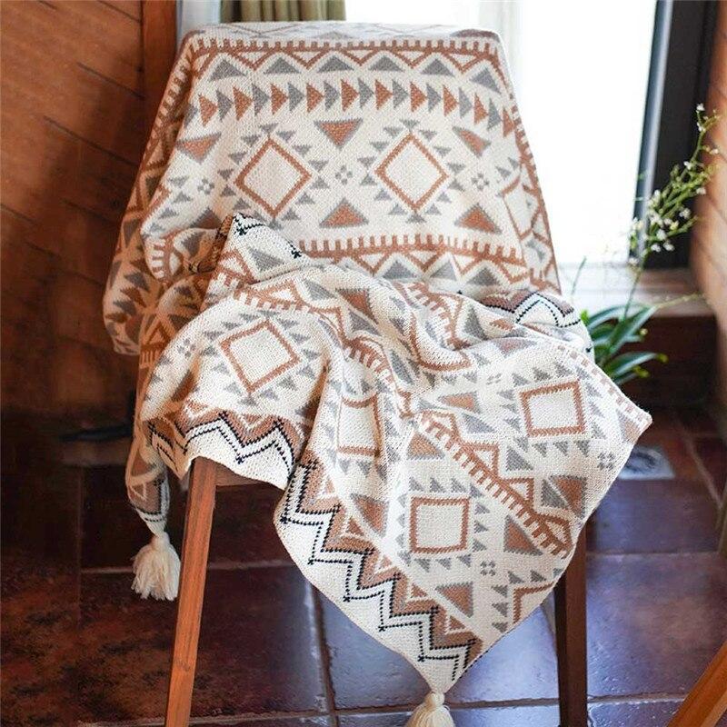 Вязаная шерстяная шаль с кисточками в богемном стиле, одеяло из акрилового волокна, зимнее декоративное одеяло, покрывало для дивана|Одеяла| | АлиЭкспресс