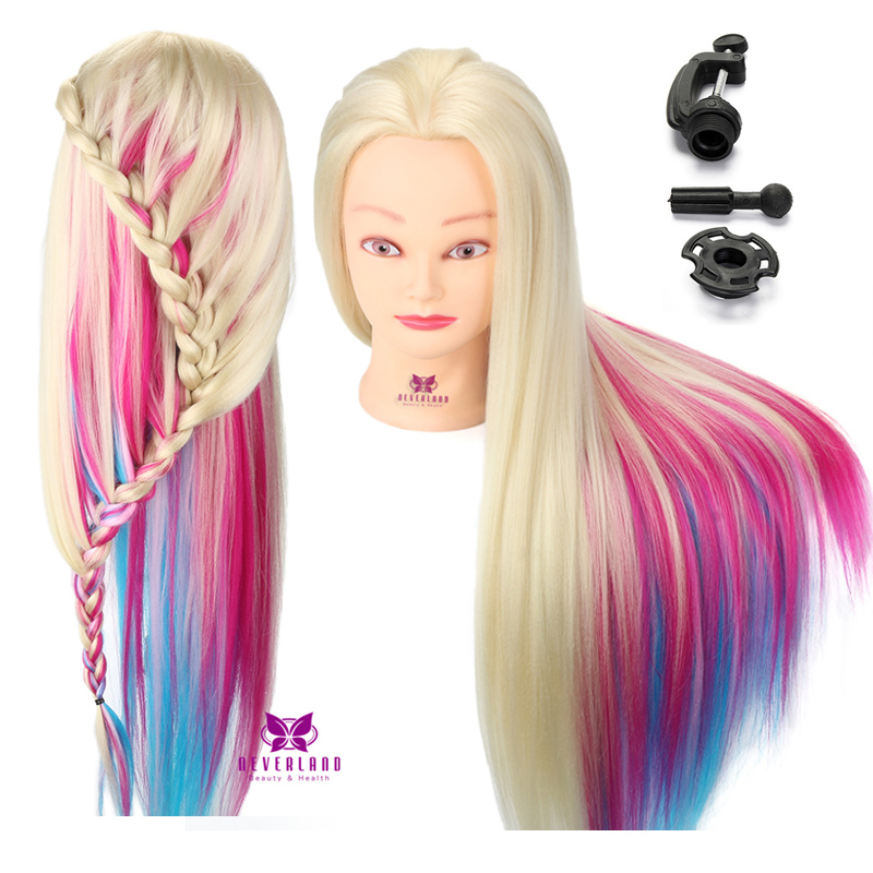 US $29.89 35% OFF Long Rainbow Hair Training Head Colorful Hair Braiding  Practice Mannequin Head Hairstyles Doll + Table Clamp Styling Doll on ...