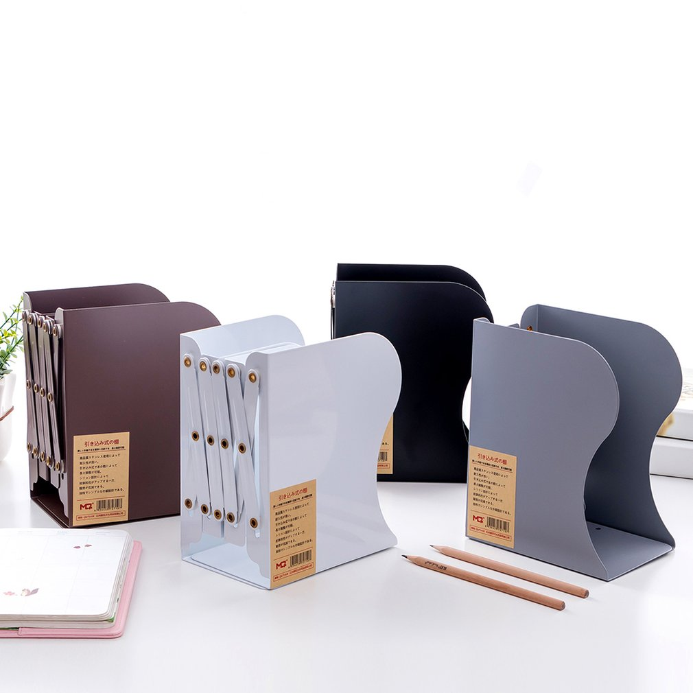Non-Printing Wind Creative Telescopic Folding Book Stand Metal Look Bookshelf Office Cartoon Student Storage Stationery