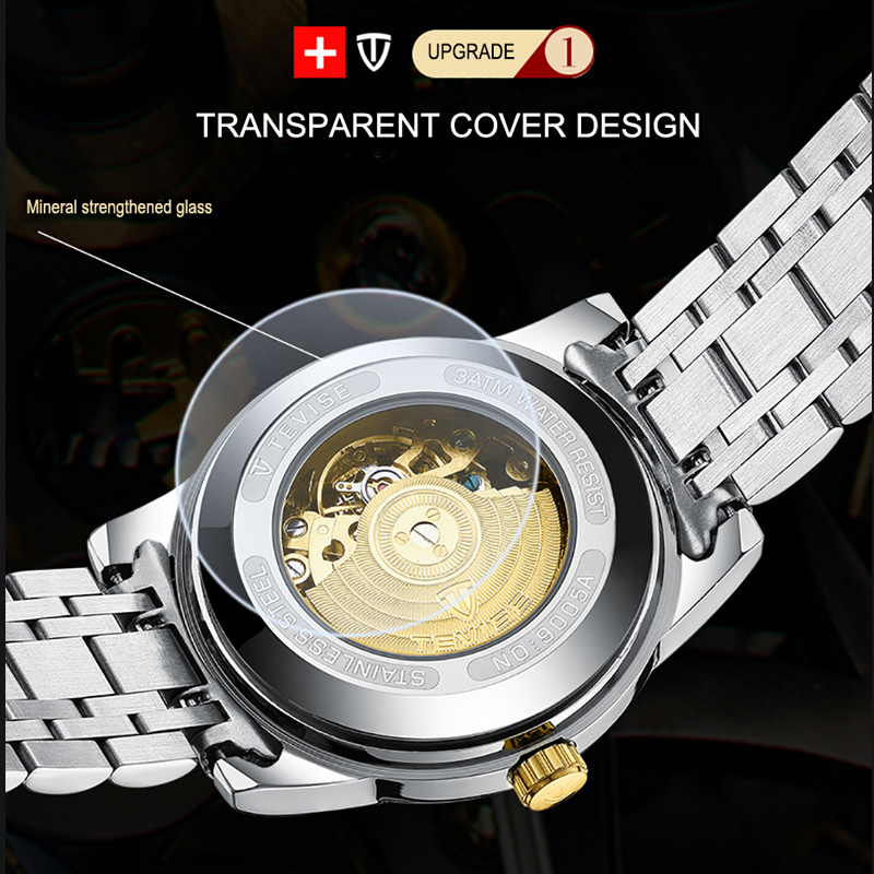 TEVISE Top Luxury Brand Mens Automatic Watches Men Stainless steel Skeleton Mechanical Wristwatch Relogio Masculino