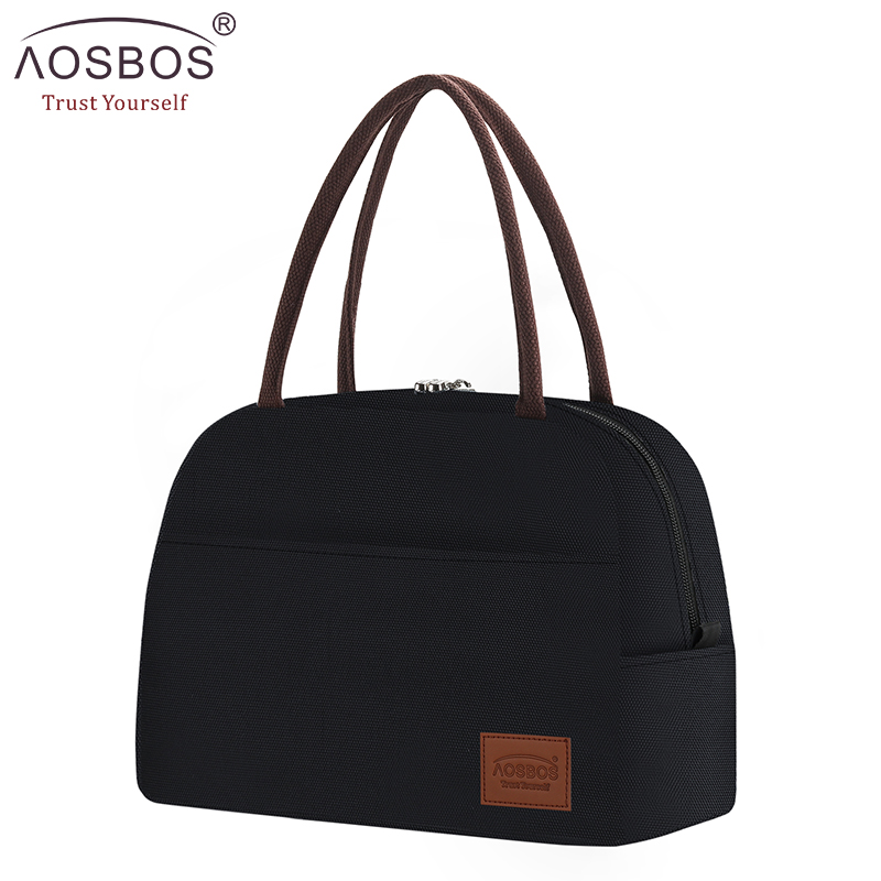Aosbos Fashion Portable Cooler Lunch Bag Thermal Insulated Solid Tote Bags Large Food Picnic Lunch Box Bag For Men Women Kids