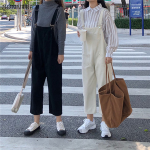 Image 4 - 점프 슈트 여성 2020 데님 단순 레트로 코튼 느슨한 여성용 포켓 발목 길이 바지 솔리드 레저 한국 바디 슈트 러블리
