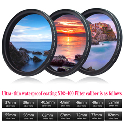 Orsda ND filter 37mm 46mm 49mm 52mm 55mm 58mm 62mm 67mm 77mm 72mm 82mm 86mm ND2 TO ND400 Filter Neutral Density Fader Variable