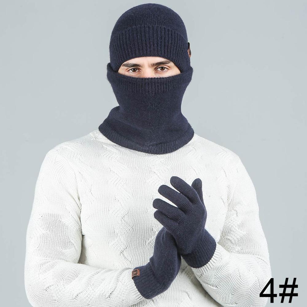 Evrfelan модный мужской женский зимний комплект шапка и шарф и наборы перчаток для мужчин вязаный плотный теплый комплект из 3 предметов аксессуары в стиле унисекс - Цвет: navy