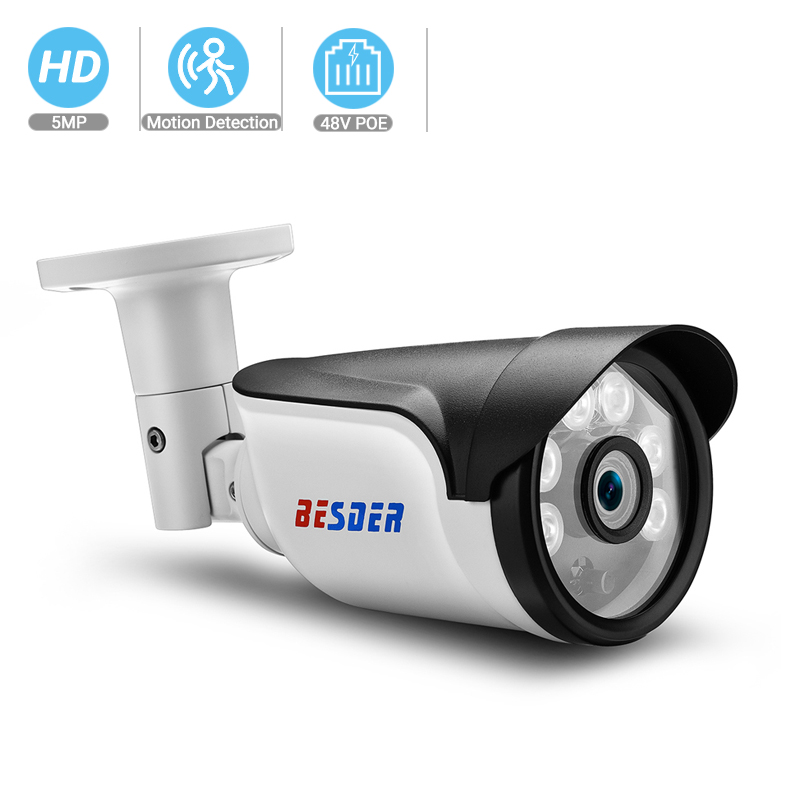 BESDER H.265 IP POE Security Camera 5MP 3MP 2MP Bullet Outdoor Waterproof Video Surveillance Cameras H.265 Network Motion Camera